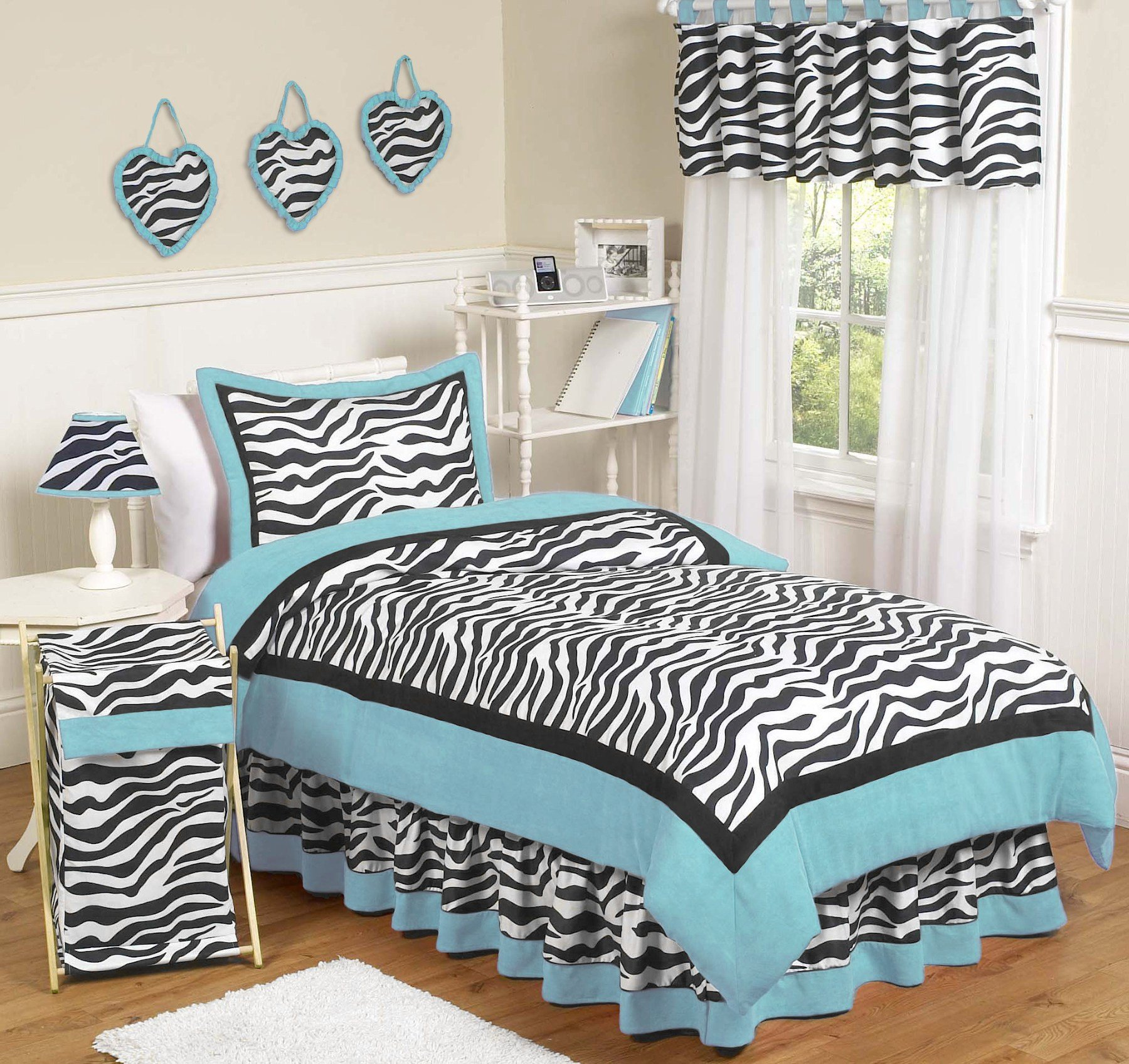 Best Blue Zebra Bedding Twin Comforter Set For Girls 4Pc Bed In With Pictures