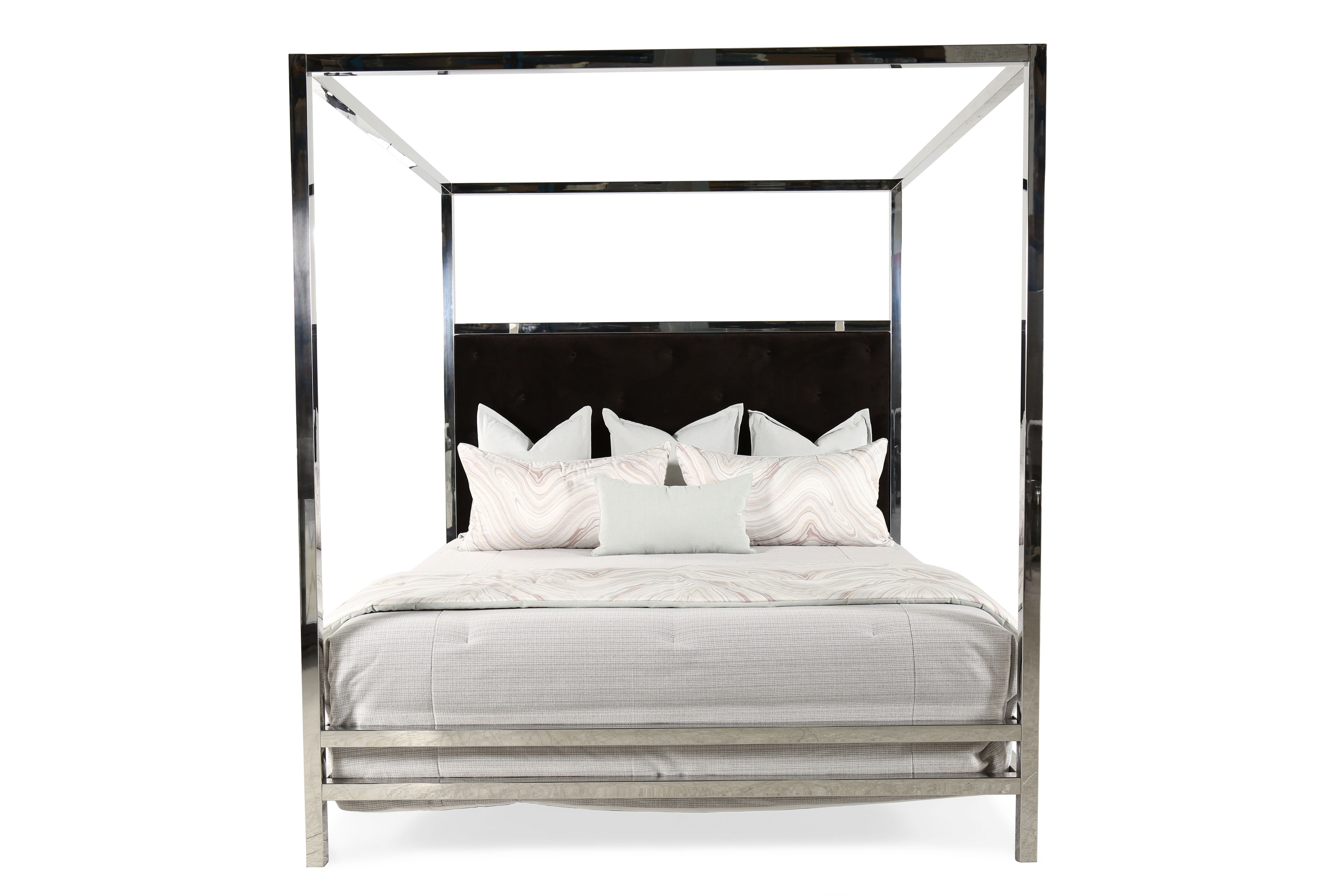 Best 90 Modern Stainless Steel Poster Bed In Silver Mathis With Pictures