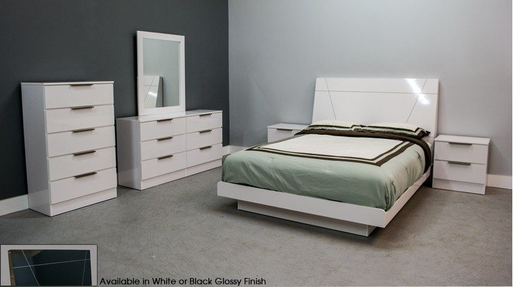 Best Sorrento Glossy White Platform 5 Piece Bedroom Set With With Pictures