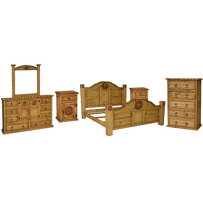 Best Rustic Pine Rodeo Bedroom Set With Queen Rodeo Star Bed With Pictures