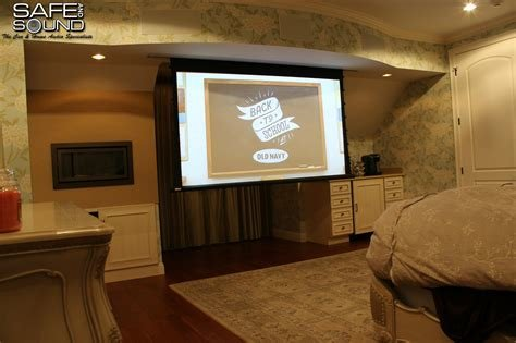 Best Bedroom Bathroom Walk In Closet Speaker Install With Motorized Projector Screen Safe And Sound With Pictures