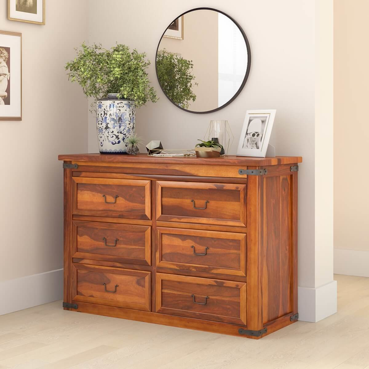 Best Classic Shaker Solid Wood Bedroom 6 Drawer Double Dresser With Pictures