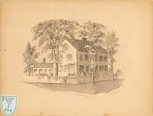 A drawing of the Lyman Beecher House from 1929; image courtesy of the Litchfield Historical Society.