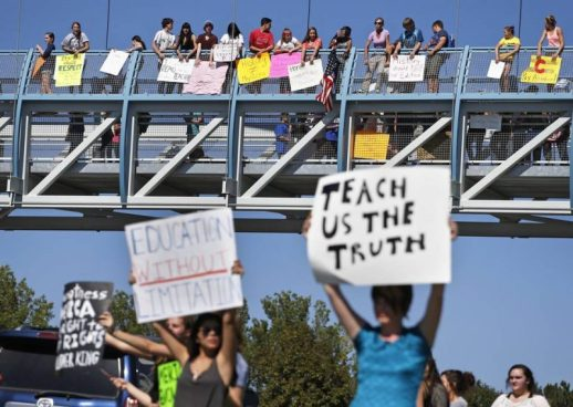 "Students protest against a Jefferson County School Board proposal to censor the 2014 AP U.S. History curriculum (Thursday Sept. 24, 2014, AP). Found in: T. Keung Hui, NC Board of Education to hear AP US History controversy,"" The News and Observer, Nov. 26, 2014, accessed July 15, 2016."