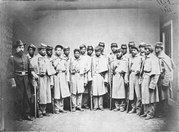 "The photograph that became the basis for the ""Come Join Us Brothers"" United States Colored Troops recruitment painting."