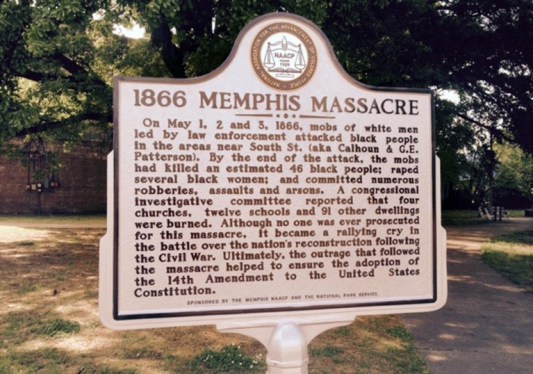 Historical marker of the massacre. Image from Depiction of the 1866 Memphis Massacre. Image from http://www.memphis.edu/memphis-massacre/.