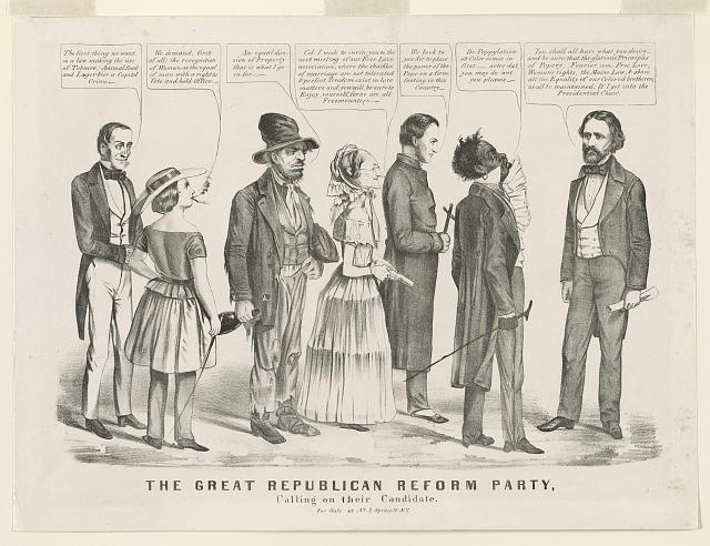 "Democratic political cartoon showing ""fanatics"" making demands of a compliant John C. Frémont, the 1856 Republican presidential candidate. Source: ""The Great Republican Reform Party, Calling on Their Candidate"" (New York, NY: [Nathaniel Currier], [1856]), Prints and Photographs Division, Library of Congress."