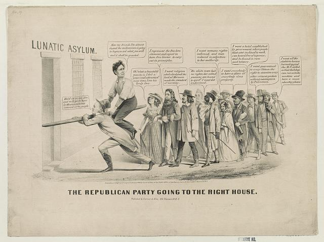 "Figure 2. Democratic political cartoon mocking the fanatics supporting Abraham Lincoln in 1860. Horace Greeley is carrying Lincoln. Source: ""The Republican Party Going to the Right House"" ([New York, NY]: Currier and Ives, [c. 1860]), Prints and Photographs Division, Library of Congress."