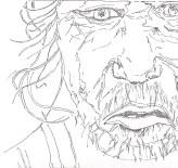 Line drawing: Homeless Man