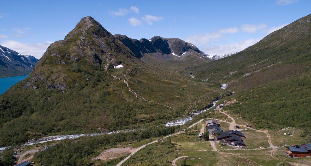 Aerial of Memurubu. Historical Route Jotunheimen.
