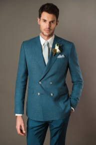Costume de mariage croisé en laine, lin et soie