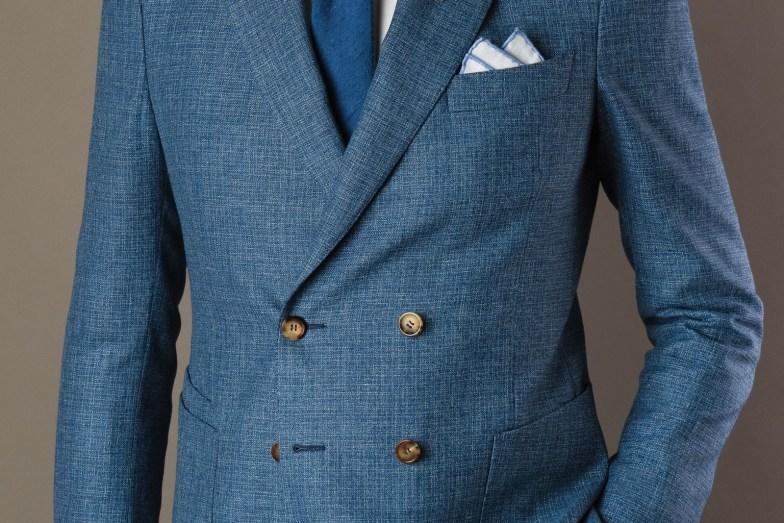Mélange lin, coton et soie pour costume de mariage sur mesure