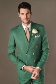 Costume croisé de mariage vert en laine, lin et soie