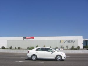 "Solyndra Building with ""For Sale"" sign"