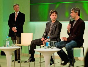 Eric Schmidt, Sergei Brin, and Eric Page