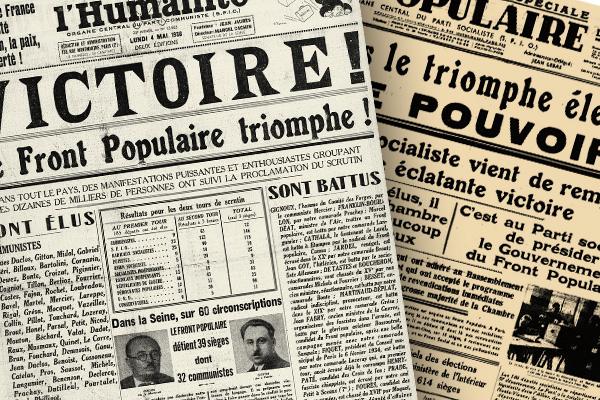 Une de l'Humanité et du Populaire 1936 ©BNF-Gallica