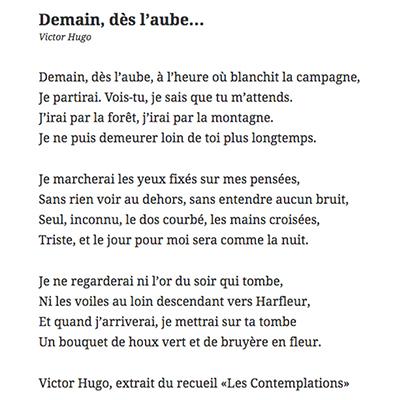 Poème Demain Dès Laube Victor Hugo 400x400px Le Journal