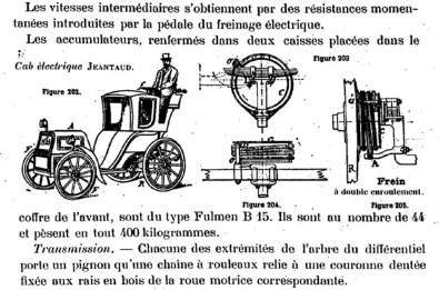 Schéma du cab électrique de Charles Jeantaud publié dans la revue « Le chauffeur » n°43, 11 octobre 1898.