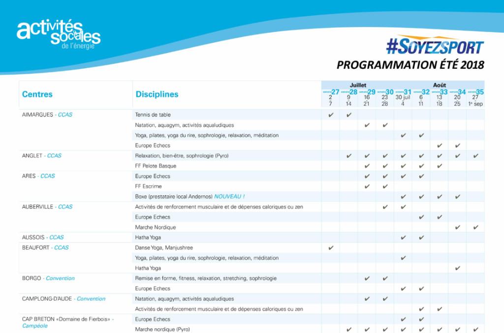 Programme des semaines multi-activités de l'été 2018