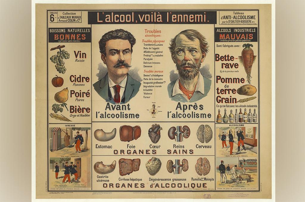 """""""L'alcool, voilà l'ennemi"""", tableau mural contre l'alcoolisme par le docteur Galtier-Boissière, Armand Colin, 1900. A noter, les """"bons"""" et les """"mauvais"""" alcools."""
