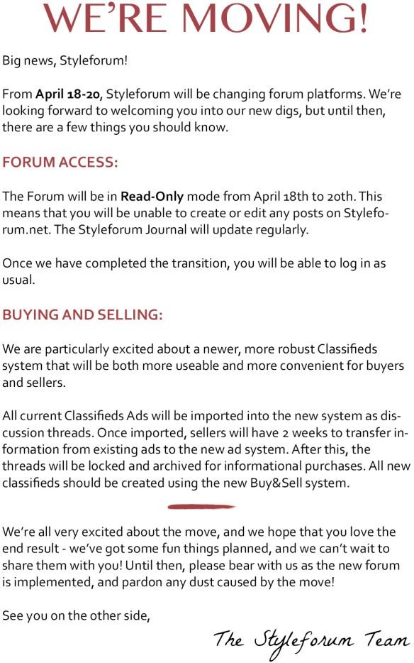 styleforum styleforum changing web hosts styleforum moving servers