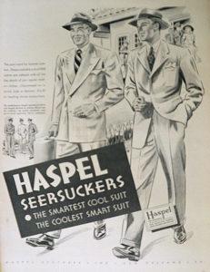 advertisement of Haspel seersucker suit.