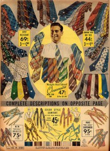 1930s ties in stripes, prints, and checks.