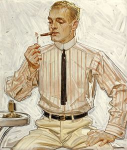 Super thin 1910's tie, in a Leyendecker Illustration.