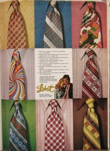 The awful designs of 1970's ties.