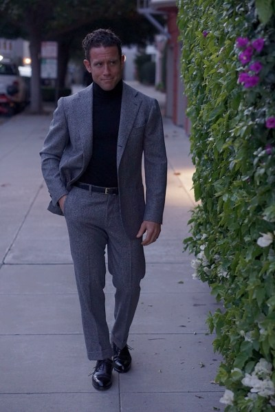 Evening date - houndstooth flannel suit and rollneck