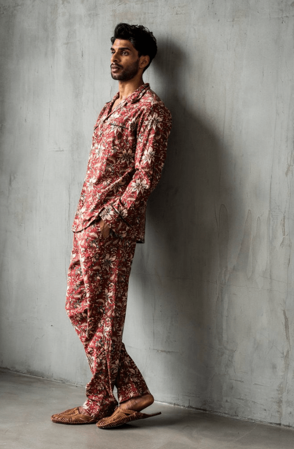 "18 East ""Julian"" Vintage pajama created with kalamkari - a traditional block-printing method."