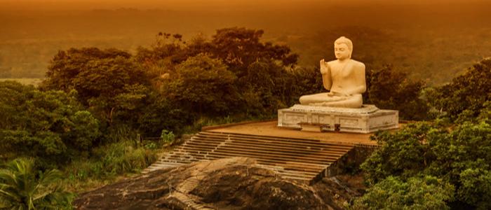 Buddha Statue Temple Sri Lanka Hill