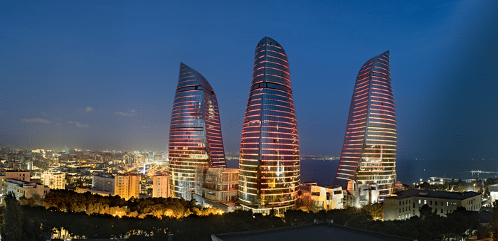 things to do in Azerbaijan -- Visit the Flaming Towers in Baku