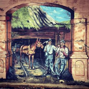 Early mining days Mural