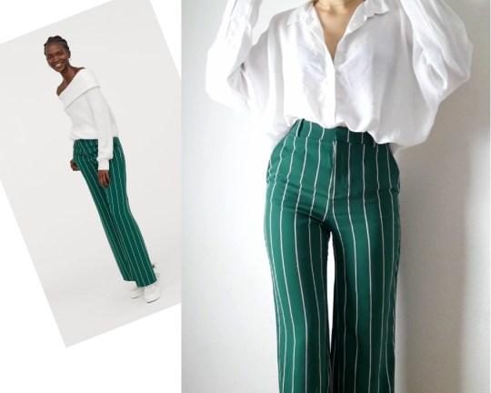 Pantalon large vert h&m