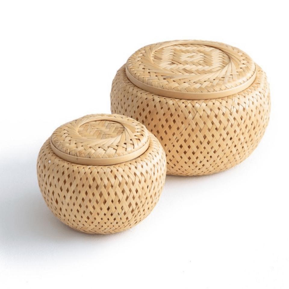 Salle de bain décoration-boites en bambou-la redoute