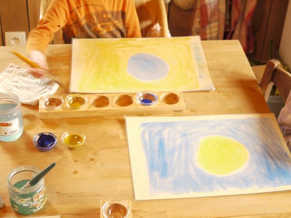 la création du monde jaune bleu  bleu jaune les complémentaires