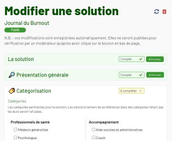 Capture d'écran de la page de modification d'une solution de l'Annuaire du Burnout, présentant l'affichage des différentes parties, complétées ou non