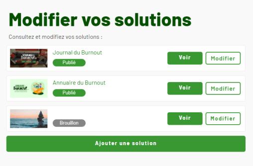 Une capture d'écran d'une liste de solutions ajoutées sur l'Annuaire du Burnout, avec la possibilité de voir et modifier chacune d'entre elles