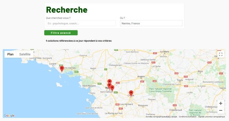 Une capture d'écran d'une recherche géographique de solution sur l'Annuaire du Burnout, avec une carte des résultats