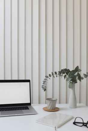 light workplace with laptop in office