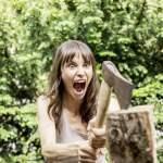 Screaming woman chopping wood model released Symbolfoto property released PUBLICATIONxINxGERxSUIxAUTxHUNxONLY FMKF05816