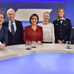 Hajo Schumacher, l-r, Edmund Stoiber, Sandra Maischberger, Anna von Bayern, Anastasia Biefang und Franz Alt zu Gast in