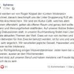Stellungnahme Cafe Spheres (Bild: Facebook)