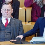 Wahl des neuen Ministerpräsidenten Thüringen. Bodo Ramelow ( Die Linke / Ministerpräsident Thüringen ) und Susanne Henn
