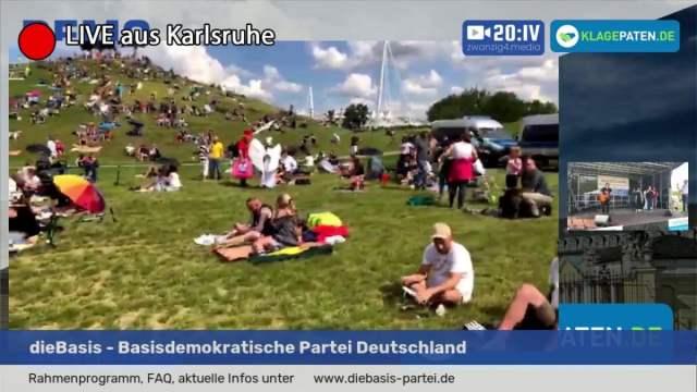 Querdenken-721 Großdemo in in Karlsruhe; Bild: Startbild Youtube Klagepaten