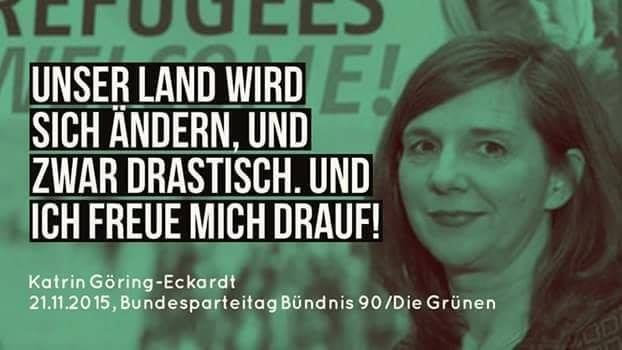 Katrin Goering-Eckhardt von den Grünen freute sich darauf, dass sich Deutschland drastisch verändern wird.; Bildquelle