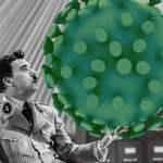 """Charlie Chaplin in """"Der große Dikator"""" mit einem Virus…; Bild: jouwatch Collage"""