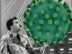 """Charlie Chaplin in """"Der große Dikator"""" mit einem Virus...; Bild: jouwatch Collage"""
