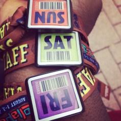 Shot of my weekend wristbands.